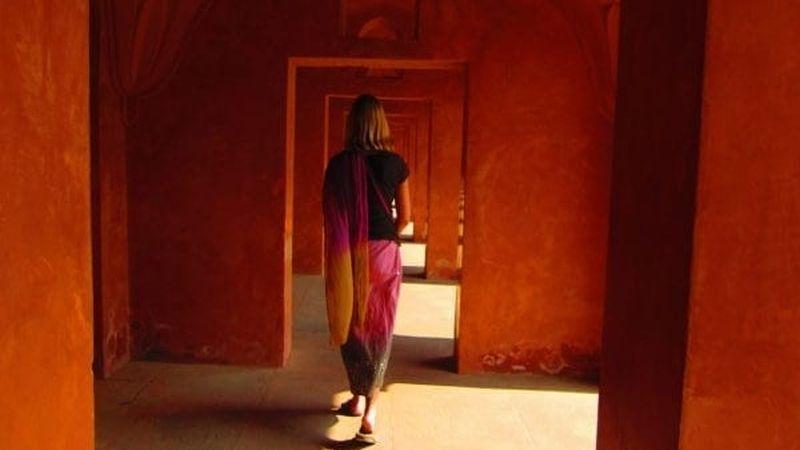 Walking through the gates outside the Taj Mahal in Agra, India