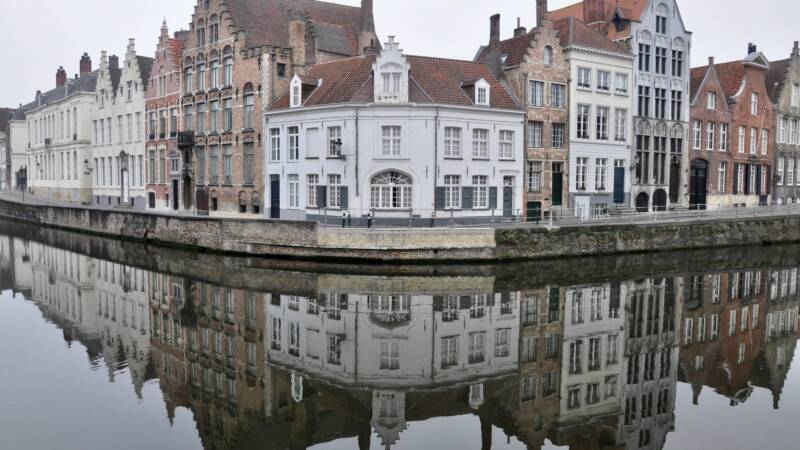 Bruges, Belgium houses over water
