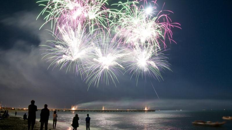 Fireworks on a Beach