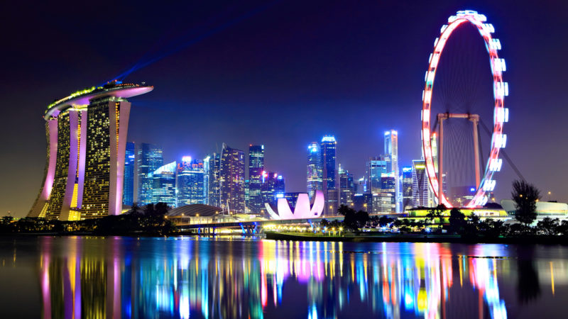 Singapore city at night
