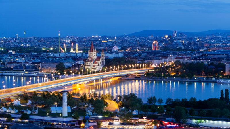 Vienna Austria Night Aerial