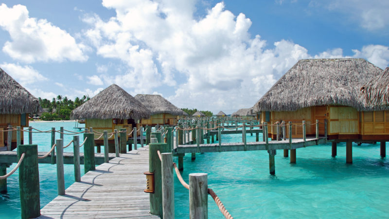 over water bungalow and the turquoise color lagoon, Bora Bora