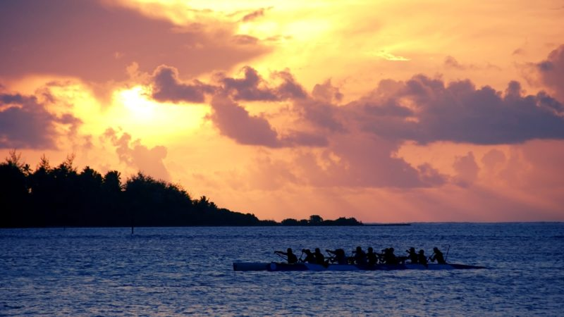 sunset at Moorea island