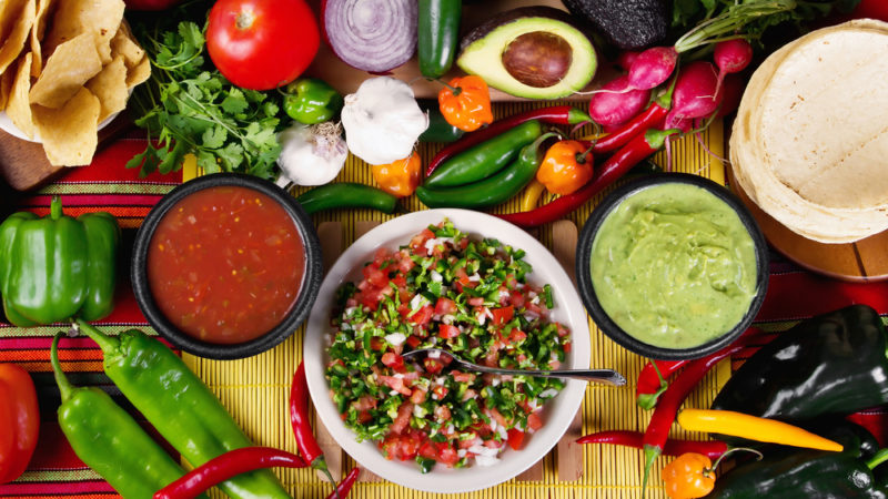 Mexican Ingredients and salsa