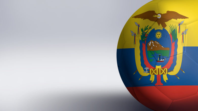 Soccer ball with Ecuador flag