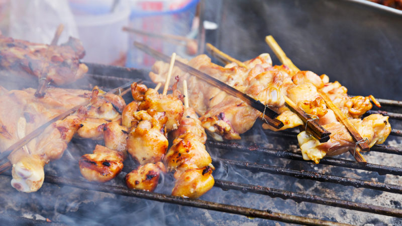 grilled chicken on a stick