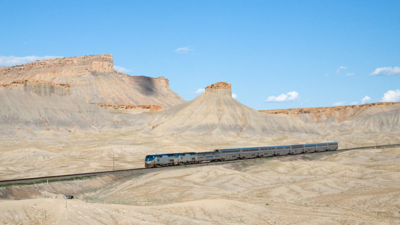 """Amtrak California Zephyr Green River - Floy, Utah"" by Kabelleger / David Gubler (https://www.bahnbilder.ch) - Own work: https://www.bahnbilder.ch/picture/6533. Licensed under CC BY-SA 3.0 via Commons."