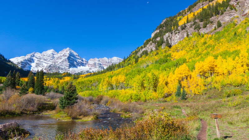 Fall Landscape of Maroon Bells Aspen Colorado