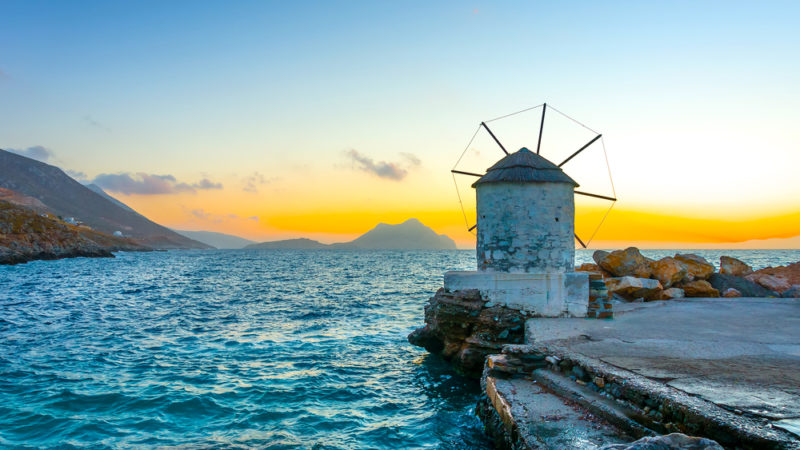 Aigiali village in Amorgos island in Greece