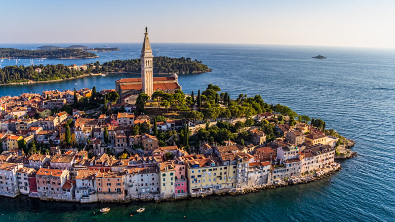 Rovinj at sunset, Istra region, Croatia.