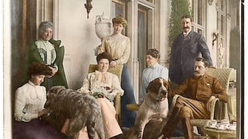 This colorized version of a photograph from the Vanderbilt archives depicts afternoon tea on the Loggia of Biltmore House with the Vanderbilts, September 1900.