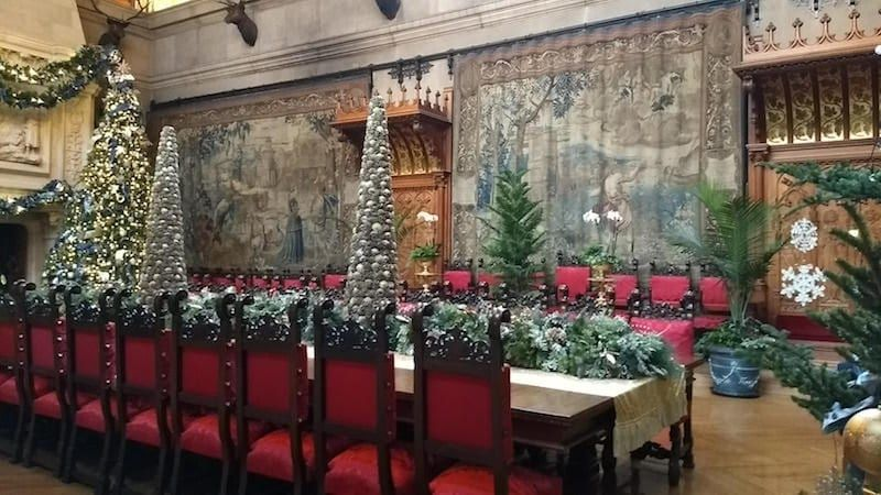 The towering Christmas tree in the banquet hall of Biltmore House. Photo credit: Shelley Seale