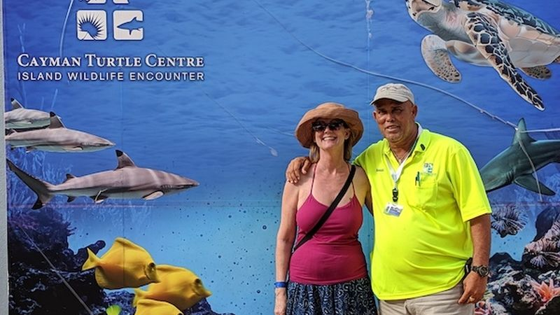 Shelley and Benny at the Cayman Turtle Centre
