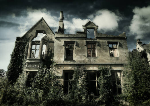 Derelict abandoned house