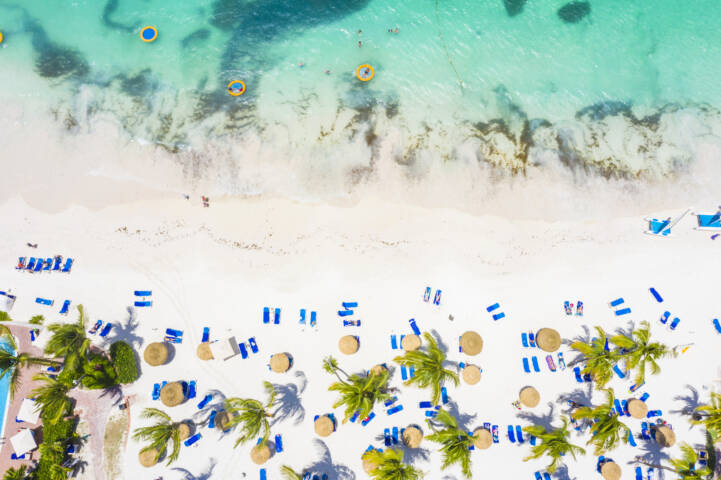 White sand beach from above