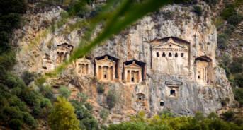Ancient Rock Tombs in Dalyan Delta, Turkey