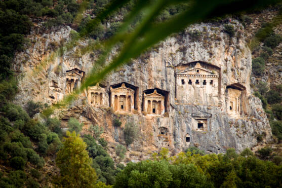 Ancient Rock Tombs in Dalyan Delta, Turkey