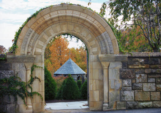 Stone archway and entrance to Bishop's Garden of the Washington National Cathedral