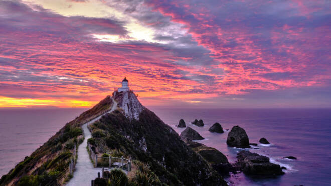 View of the Nugget point lighthouse at sunrise on a cloudy