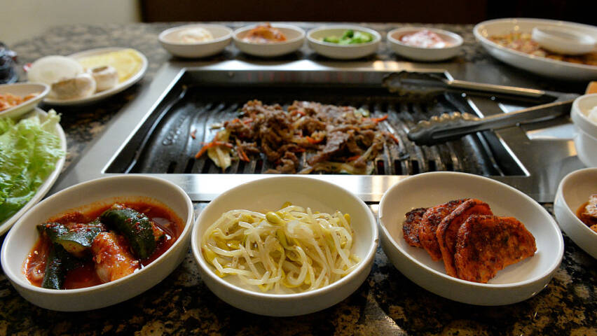 The beef bulgogi on the tabletop grill at the Korean barbecue restaurant Dae Gee in Westminster,CO.