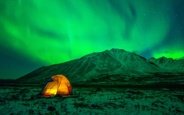 Camping under Northern Lights