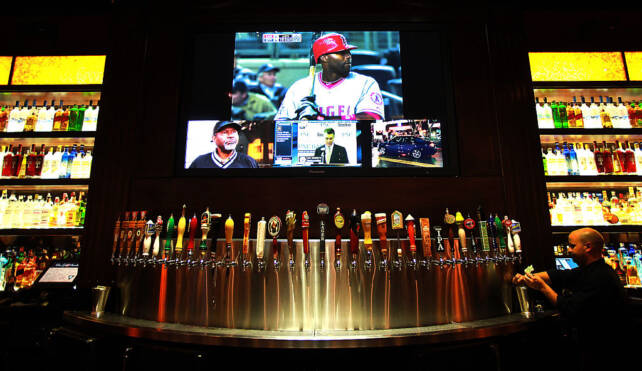 Nearly three dozen beer taps and more in bottles are featured at the BJs Restaurant and Brewpub