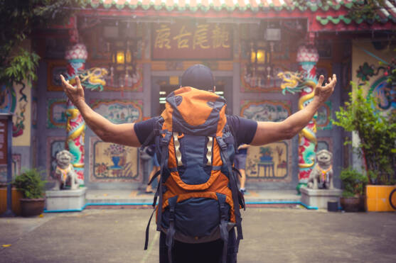 backpacker traveling in asia . .