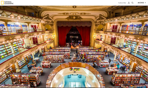 The El Ateneo bookstore from National Geographic. PHOTOGRAPH BY PAUL HAHN, REDUX