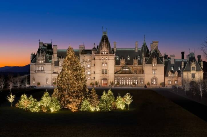 Biltmore facade during the Christmas season. Photo credit: The Biltmore Company.