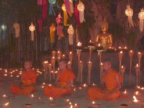 Monks meditating in Chiang Mai, Thailand