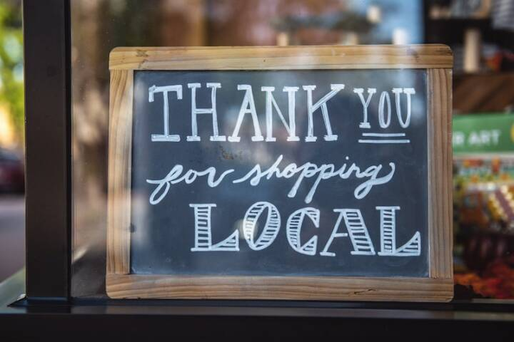 Thank you for shopping local sign