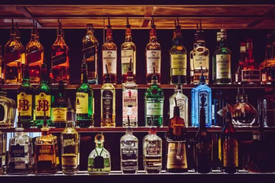 Bar Liquors on Shelf