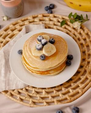 Blueberry Pancake Breakfast Table Setting