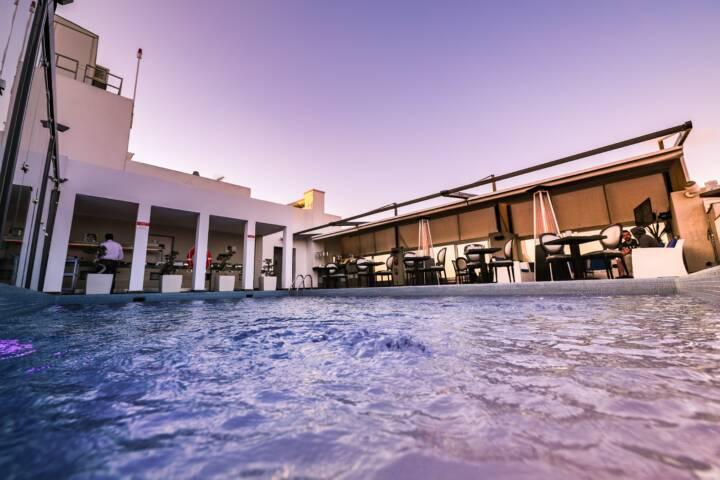 An alfresco indoor pool