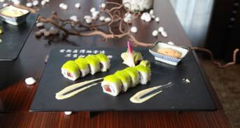 Sushi on Plate at Restaurant