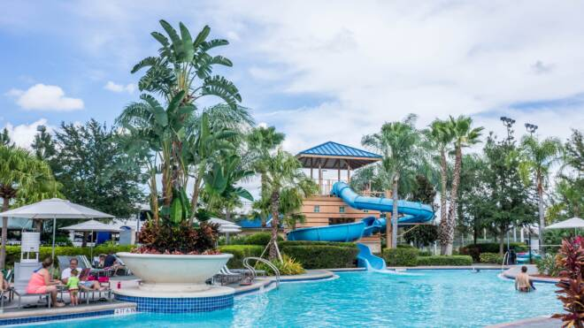 Water Park with Pool and Waterslide